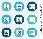 set of 9 religion icons....