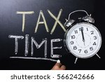 close up of alarm clock near... | Shutterstock . vector #566242666
