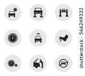 set of 9 editable transport... | Shutterstock .eps vector #566249332