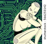 female robot with artificial... | Shutterstock .eps vector #566253142