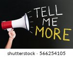 close up of tell me more... | Shutterstock . vector #566254105