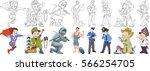 cartoon working people set.... | Shutterstock .eps vector #566254705