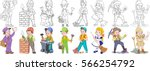 cartoon working people set.... | Shutterstock .eps vector #566254792