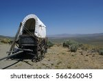 A settlers wagon on the Oregon trail