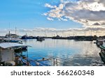 port or marina with fishing... | Shutterstock . vector #566260348