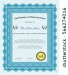 light blue certificate template.... | Shutterstock .eps vector #566274016