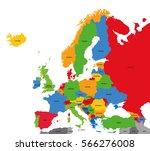 detailed vector political map... | Shutterstock .eps vector #566276008