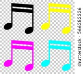 music note icon. colored set of ...