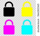 lock icon. colored set of cmyk...