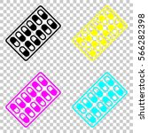 pack pills icon. colored set of ... | Shutterstock .eps vector #566282398