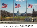 American Flags With Us Capitol...