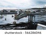 apocalypse sea view. destroyed... | Shutterstock . vector #566286046