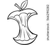 cartoon apple core illustration | Shutterstock .eps vector #566290282