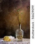Still Life with Lemon and withered poppies in vase - stock photo