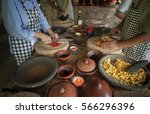 balinese cooking class. food in ... | Shutterstock . vector #566296396