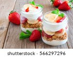 healthy strawberry and banana... | Shutterstock . vector #566297296