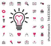 heart shape in a light bulb.... | Shutterstock .eps vector #566333602