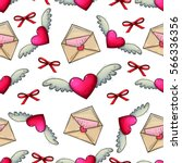 seamless pattern with heart and ... | Shutterstock .eps vector #566336356