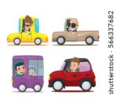 cars driver cartoon collection... | Shutterstock .eps vector #566337682