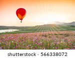 color hot air balloon over... | Shutterstock . vector #566338072