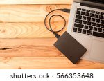 external hard with laptop on... | Shutterstock . vector #566353648