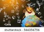 children touch globe model.he... | Shutterstock . vector #566356756