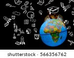 children touch globe model.he... | Shutterstock . vector #566356762
