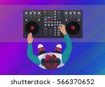 dj playing vinyl on the neon... | Shutterstock .eps vector #566370652