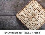 jewish matza on passover | Shutterstock . vector #566377855