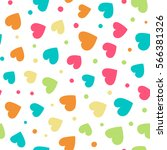 seamless pattern with hearts...   Shutterstock .eps vector #566381326