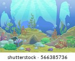 cartoon underwater vector... | Shutterstock .eps vector #566385736