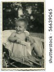 Vintage photo of baby boy - stock photo