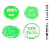 set of green logos  labels....   Shutterstock .eps vector #566391226