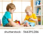 children toddler and... | Shutterstock . vector #566391286