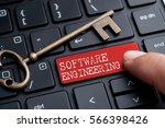 closed up finger on keyboard... | Shutterstock . vector #566398426