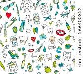 dental seamless pattern  sketch ... | Shutterstock .eps vector #566400352