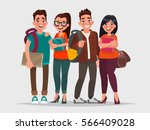 happy students with books on an ... | Shutterstock .eps vector #566409028