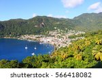 bay of soufri re  st. lucia ... | Shutterstock . vector #566418082
