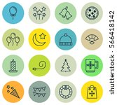 set of 16 new year icons.... | Shutterstock .eps vector #566418142