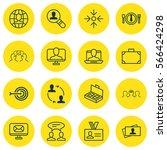 set of 16 business management... | Shutterstock .eps vector #566424298