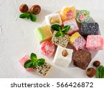 turkish delight on white rustic ... | Shutterstock . vector #566426872