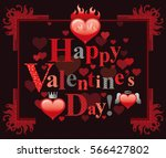 happy valentines day border ... | Shutterstock .eps vector #566427802