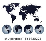 abstract globes with abstract... | Shutterstock .eps vector #566430226