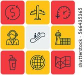 set of 9 airport icons....