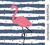 vector print  with pink flamingo | Shutterstock .eps vector #566439526