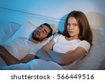 young girl can't sleep because... | Shutterstock . vector #566449516