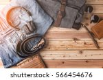 travel stuff concept with jeans ... | Shutterstock . vector #566454676