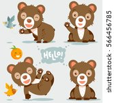 cu te and funny bear vector... | Shutterstock .eps vector #566456785