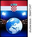 croatia flag with globe on... | Shutterstock .eps vector #56647147