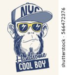 cool monkey illustration with... | Shutterstock .eps vector #566472376